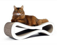 Preview: white design scratch post Cat Racer